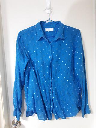 🚚 女裝 Uniqlo亞麻水藍白點襯衫