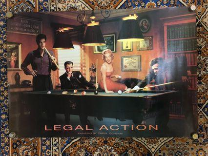 Legal Action James Dean Elvis Presley, Marilyn Monroe, Humphrey Bogart Art Poster Painted By Consani