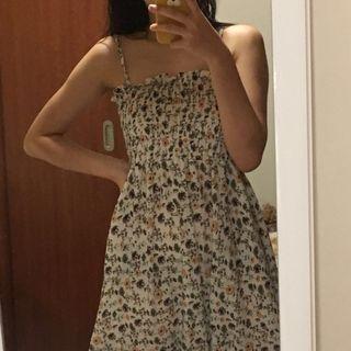 BN ulzzang sleevless floral white summer dress