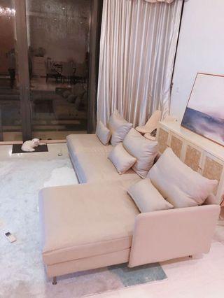 Ikea L型沙發,有2set套可拆洗,可自行調教沙發墊厚薄