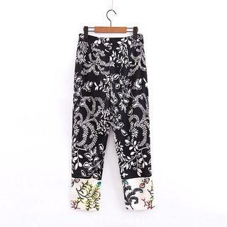 European and American style floral print high waist casual wild color matching radish harem pants
