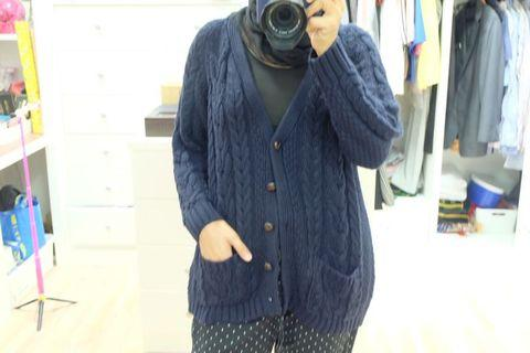 Vneck knitted dark blue cardigan