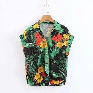 Green Flower Hidden Lapel Fly-Flying Sleeve Single-Breasted Short Sleeve Shirt