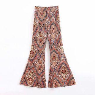 European and American style Batt totem flower print high waist speaker casual trousers