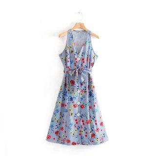 European and American style floral print V-neck with single-breasted dress
