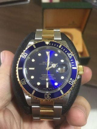 Rolex Half Gold Submariner 16613 (Blue)