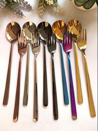 INSTOCKS Metal Fork Spoon Cutlery Stainless Steel