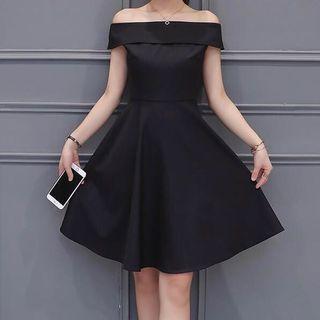 黑色一字肩連身裙 Grad din裙 小禮服