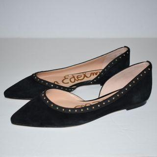 Sam Edelman Roni Studded Half d'Orsay Flat Black Suede Size 5