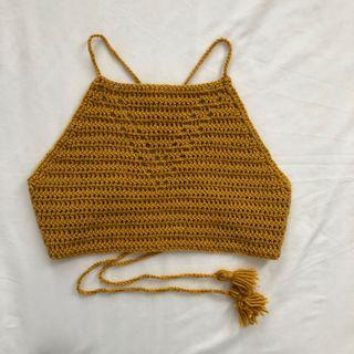 Yellow Hand-Knit Festival Crop Top
