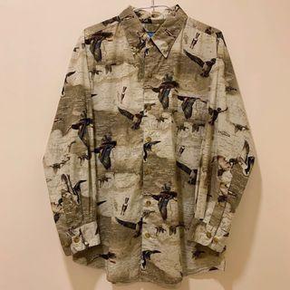 [ 已售出 ]古著綠頭鴨滿版狩獵動物襯衫 卡其 / Vintage Haunting Shirt