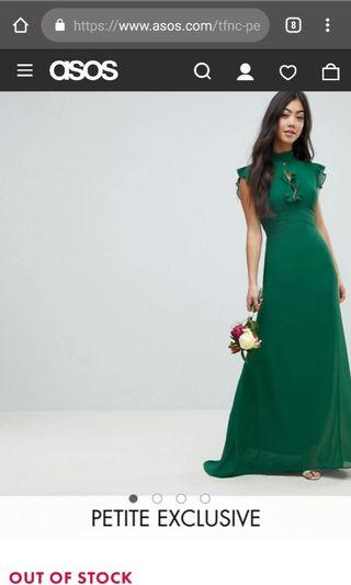 TFNC Petite WEDDING Flutter Sleeve Fitted Maxi Dress in Chiffon
