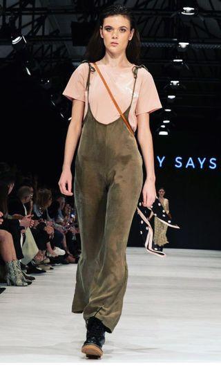 Suede silk jumpsuit wide leg XS