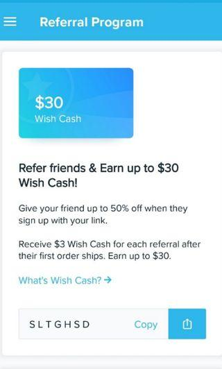 wish referral code: get 50% off already discounted products!
