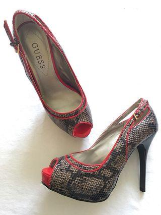 Guess Grey/Red snake print peep toe pumps