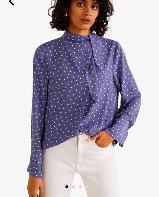 Mango bow collar shirt