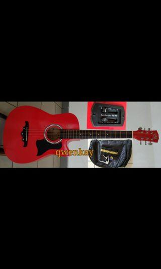 A&K Semi Acoustic Guitar 38Inch Red