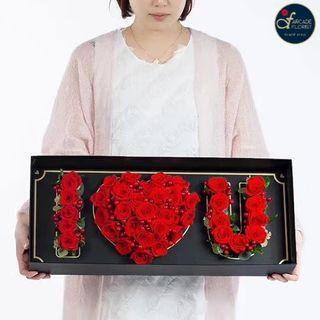Multi-Stalk🌹🌹🌹Roses🌹🌹🌹shaped as *I 💖 U* in a Box (Fresh Flower Bouquet) | Rose Flower | Flower Bouquet | Flower | Flowers | Fresh Flower | Rose | Roses | Valentine's Day | 情人节