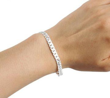 Men's Flat Curb Silver Plated Chain Simple Design Bracelet Jewelry Gift