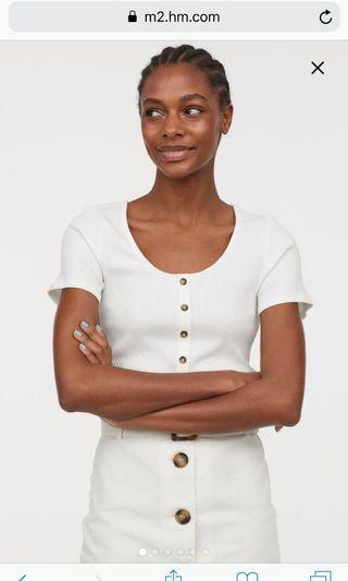 H&M White ribbed button top