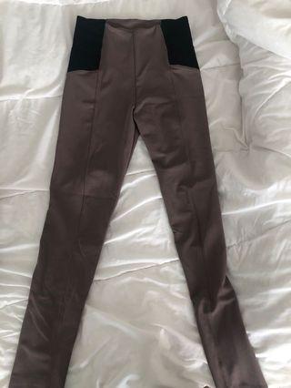 High Waisted Elastic Stretchy Beige Pants