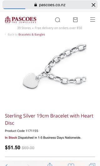 Pascoes sterling silver bracelet