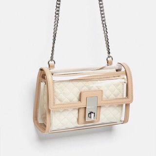 🚚 Zara 透明塑料單肩包 側背包 斜背包 肩背包 透明包 小方包~原價1290元~ 可放IPhone X