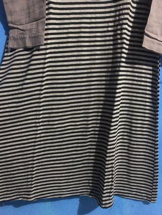 Stripe Tunik Abu abu