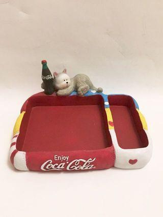 Coca Cola限量版貓咪告示貼陶瓷盛器,size : W13 x L10cm, 全新
