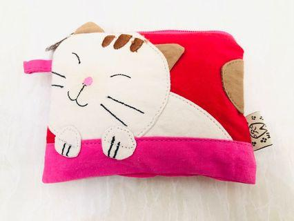 🚚 Cat Red Color Coin Pouch / Coin Wallet