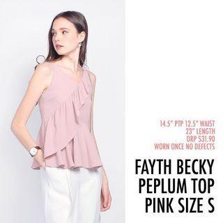 Fayth Becky Peplum Ruffle Top Pink Small S