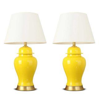 SOGA 2x Oval Ceramic Table Lamp with Gold Metal Base Desk Lamp Yellow