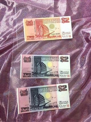 $2 new Singapore Old Notes ship series