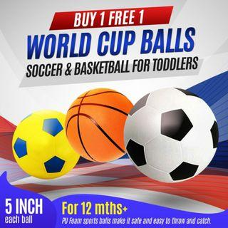 [ Stock Clearance ] 5-inch PU Foot/Soccer ball, Basketball, ( Buy 1 Get FREE 1 any Ball )