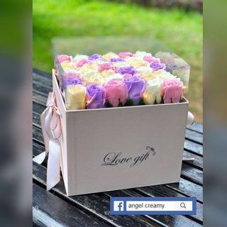 香皂花 有燈 花盒