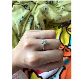 全新 💍💍仿2卡水晶 戒指 5爪 6號指圈