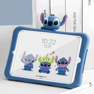iPad2/3/4 可愛史迪奇 軟殼矽膠可立架保護套