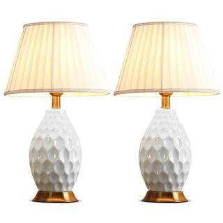 SOGA 2x Textured Ceramic Oval Table Lamp with Gold Metal Base White