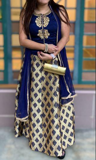 Royal Blue/Gold Anarkali Suit