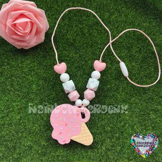 Handmade Pink Ice cream Teether with beads Necklace / Teething necklace