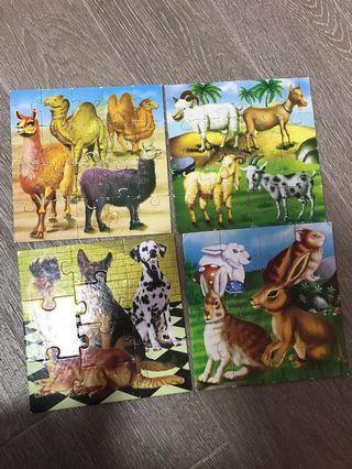 4 animals jigsaw puzzles