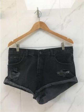 [THE PEOPLE VS.] Black Ripped Denim Shorts