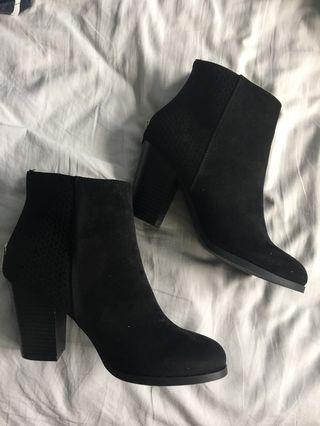 BNIB Black Suede Booties (7.5)