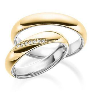 Matching Wedding Bands | 18K Gold | Moissanite Diamond