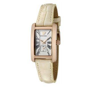 🚚 Emporio Armani White Dial White Leather Women's Watch AR0173