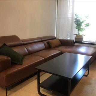 3-seater Leather Sofa with Lounge