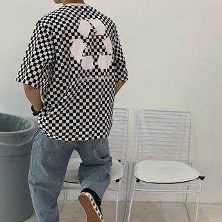 Ulzzang save the planet recycle checkered top