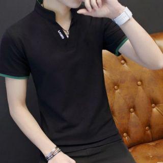 Men Korean Fashion V Neck Short Sleeve Slim Fit High Collar