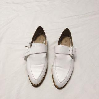 Zara White Leather Loafers