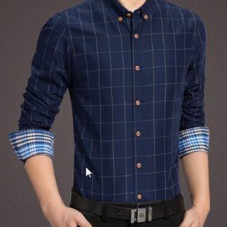 Men Korean Fashion Plaid Long Sleeved Business Slim Shirt